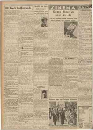 CUMHUBİYET 3 Ağustos 1937 Kedi katliammda :^ Meraklı bir dava neticeleniyor Kontes Stroganof kocasının milyonlarına tekrar