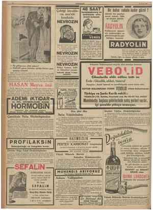 CüMHURlYET 18 Eyiul 1937 Çektiği Istırabların mes'ulü kendisidir havalandırılmış ve terkibinde altın kremi bulunan 48 SAAT