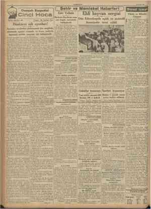 CUMHURÎYET 20 Eylul 1937 Osmanlı Rasputini Tarihî teffrika : 30 ( Şehir ve Memleket Haberleri ) Eski Valimiz Ehlî hayvan...