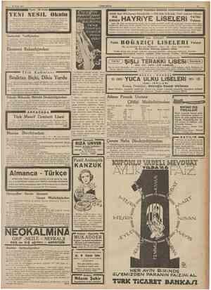 26 Eylül 1937 YENİ 'Tesisindenberi Yuva - ilk kısım KADR NESiL Okulu ri talim ve terbiye sistemindeki Şi ve intizam İs-...