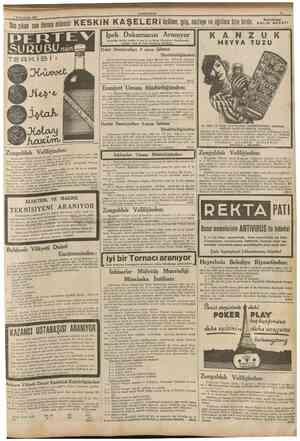 f BirineKesrin 1937 CUMHURİYET II Sonçıkan son dcrece müessir K E S K i N K A Ş E L E R i üşüîme, grip, nezleyeve agrılara
