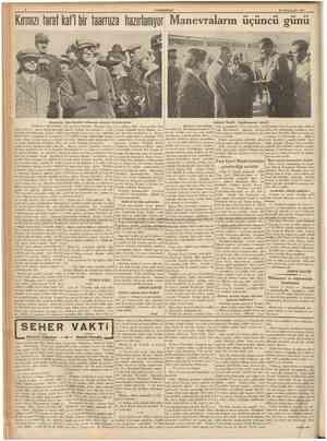 Kırmızı taraf kat'i bir taarruza hazırlanıyor CUMHÜRİTET 12 Birfnctteşrfn 1937 Manevraların üçüncü günü Atatürkün dün harekât
