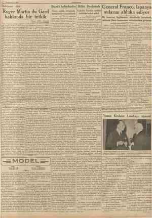 30 Ikinciteşrin 1937 CUMHURÎYET Edebiyata dair Bıçaklı kabadayılar Miiiet Meciisinde General Franco, Ispanya Roger Martin du