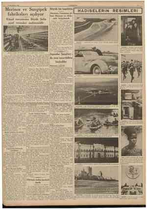 28 Ikincikânun 1938 CUMHURIYET Merinos ve Sungipek fabrikaları açılıyor Küşad merasimine Büyük Şefin şeref vermeleri...