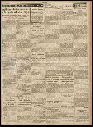 lfl Subat 1938 CUMHURİYET Meseleler Ingiltere Italya arasında Varidat fazlası anîaşma tahakkuk ediyor Bir sene zarfında 18,5