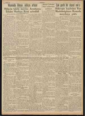 17 Şubat 1938 Hitlerin talebi üzerine Avusturya Erkânı Harbiye Reisi azledildi [Baştarafı 1 inci sahitede] dolayısile her...