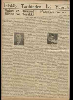 CUMHURİYET 19 Mart 1938 Inkılâb [Türk Tarih Kurumu Belleteninin son çıkan nüshasında intişar eden, profesör Bayan Âfetle,...