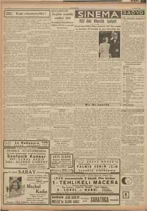 CUMHUBIYET 21 Nisan 1938 KONYA MEKTUBU Küçük hikâye Keşki evlenmeseydiler! Doktor bana belkı yüzlerce defa tenbih etti.....