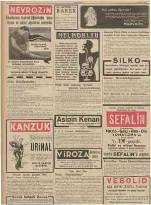 10 CUMHURİYET 28 Nisan 1938 NEVROZİN Kaşelerinin tesirini ögrenenler roma tizma ve adale agrılarını unuturlar AKER...