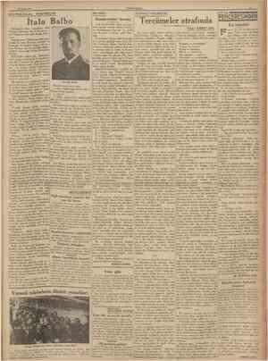 29 Nısan 1938 CUMHURÎYET BEYNELMİLEL PORTRELER MUSİKİ: SERBEST FİKİRLER: İtalo Balbo Halihazırda Libya kumandanı olan Mareşal