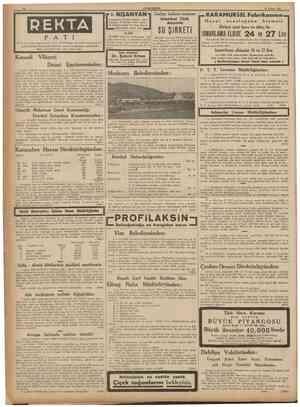 10 29 Nisan 1938 REKTA P A Kocaeli Vilâyeti Daimî T I I o. NIŞANYAN ı r kadaı I nın I Hastalannı hergün akşama aye I Tasfiye
