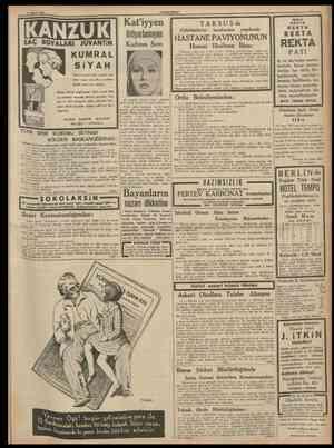 3 Mayıs 1938 CUMHURtYET Kat'iyyen SAÇ BOYALARI JUVANTİN ihtiyarlamıyan Kadının Sırn I T A R S U S da Fabrikatörler tarafmdan