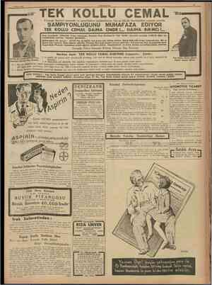 9 Mayıs 1938 TEK TEK Piyango bayileri arasında on senedenberi müşterilerine her ay büyük ikramiyeleri vermek suretile KOLLU