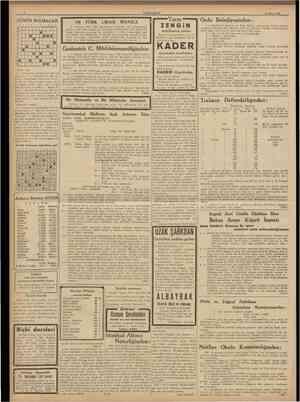 CUMHURİYET 10 Mayıs 1938 GUNUN BULMACAS1 1 2 3 4 b 6 1 100 TURK LIRASI MAAŞLA 1 1 I • m • m 1 u •• • 1 •• G. Antebde Velic