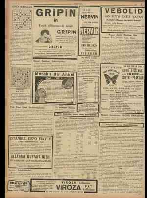 CUMHURİYET 16 Mayıs 1938 GÜNÜN BULMACASI t 2 3 4 5 « 7 8 9 10 11 6 1 8 9 • 1 1 m • •1 m I m |a • • • • • • GRiPiN in Tercih