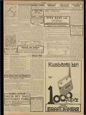 10 CUMHUBIYET 20 Mayıs 1938 Cumhunyet Kayıb aranıyor Bursada Kayan çarşısında saatçi Baş kaş yazıyor: «Bursanm 33 üncü daire