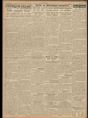 CUMHURİYET 22 Mayıs 1938 { Şehir ve Memleket Haberleri J Siyasî icmal Tarihi roman: 101 Yazan: M. TURHAN TAN Baka Yazıcıbaşı,