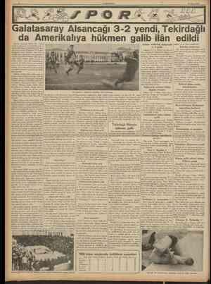 CUMHURİYET 23 Mayıs 1938 Galatasaray Âlsancağı 32 yendi, Tekirdağlı da Amerikalıya hükmen galib ilân edildi lzmirin Alsancak