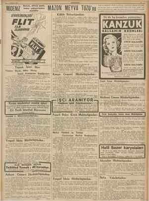 1 Haziran 1938 CUMHURtYET j/ a Bozuk, diliniz paslı, kabız çekiyorsanız mutlaka MAZON MEYVA TUZU' Kültür Bakanlığmdan: kolay