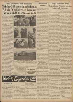 17 Haziran 1938 CUMHURtYET SabihaGökçen dün sabah saat 7,5 da Yeşilköyden hareket ederek 11,25 te Atinaya indi IBaştaraft 1