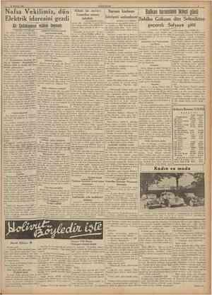 18 Haziran 1938 CUMHURİYET Nafıa Vekilimiz, dün Elektrik idaresini gezdi Ali Çetinkayanın mühim beyanatı IBaştaraJı 1 tncı