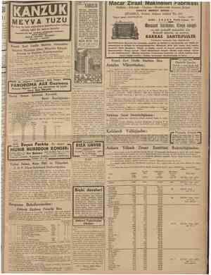 16 Temmuz 1938 CUMHURÎYET II En hoş ve taze meyvaların usarelerinden istihsa edilmiş tabiî bir meyva tuzudur Emsalsiz bir fen