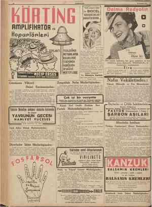"""nmPLIFIKRTÖR 'o' 1 ' *"""" • • ; ı hDRTING HAN ZULFARUZS. 10 £UMHURİYET 21 Temtnuz 1938 """"Cild unsuru olan BURUŞUKLUKLARI..."""