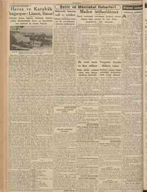 CUMHURTYET 23 Temmuz 1938 Havza ve Karabük Muamele kanunu Maden istihsalâtımız bağırıyor: Liman, liman! tadil ve tatbikatı