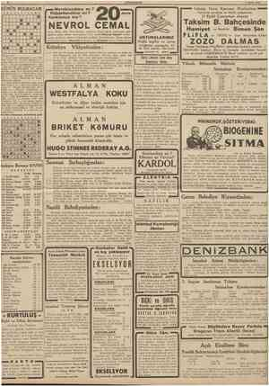 8 CUMHURIYET 7 Eylul 1938 GUNUN BULMACASI 12S 4 5 1 1 • T 8 9 10 11 1 • a • • • 1 B m m m \m u Meraklandınız mı ?...
