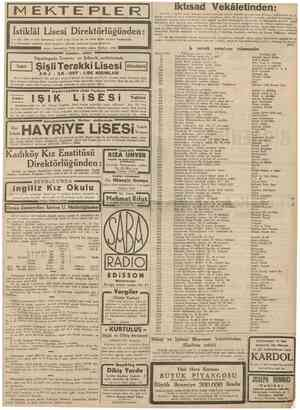 19 Eylul 1938 CUMHUBIYET II M EKTE PLE 1 îlk; Orta ve Lise kısımlanna yatıh veya yatısız kız ve erkek talebe kaydma...
