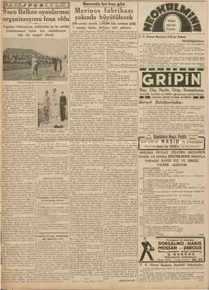 CUMHURİYET 22 Eylfll 1938 Bursada bir kaç gün 9ncu Balkan oyunlarının Merinos fabrikası yakında büyütülecek organizasyonu...