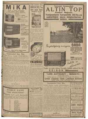 23 Biıiııciteşrin 1938 CUMHUR1YET Musiki ve fenden anlayanların İKA MODEL KADETTE JEWEL T. L O / \ . <•• Dünyanın en ufak, en
