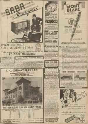 7 Ririncîkâmm 1938 CUMHURIYET 11 HOHT BÛHC Her ihtiyacı iatmin eden Mürekkepli Kalemdir. Saatisttyulsaa, AR LON PLEYEL marka,