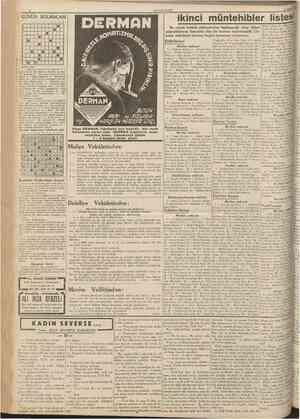 CUTÛRURİYET 15 Mart 1939 GUNUN ı 4 S BULMACASI 11 îkinci müntehibler listesi 4 f 6 8 fl 1 I 1 1 1 1 1 1 1 » 1 1 * | 1 |tt •
