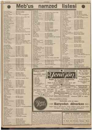 25 Mart 1939 CÜMHURİYET Meb'us namzed listesî İbrahim Diblan Kemaleddin Olpak tbrahim Tolga Dr. Fuad Sorağman Eski Kocaeli