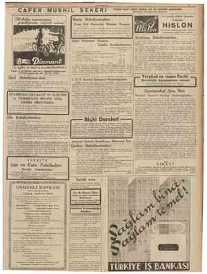 5 Mayıs 1939 CUMHURtYET CAFER MUSHiL ŞEKERi Bursa Belediyesi nden : Bursa Ehlî Hayvanlar Tesiri kat'î alımı kolay en iyi...