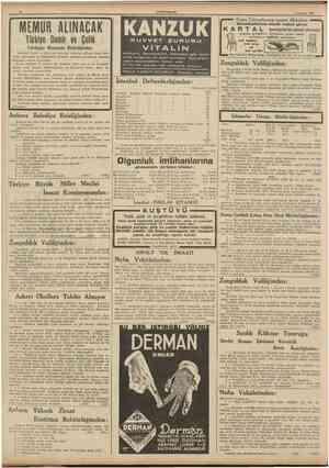 to CUMHURÎYET 7 Haziran 1939 MEMIIR ALINACAK Türkiye Demir ve Çelik Fabrikaları Müessesesi Müdürlüğünden: KUVVET ŞURUBU...