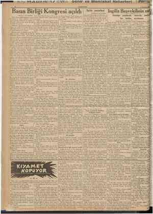 CURÎHURfYET II Temmuz 1939 Basın Birliği Kongresi açıld IBaştarafı 1 inci sahifede] Birinci Basın birliği kongresini açmakIa