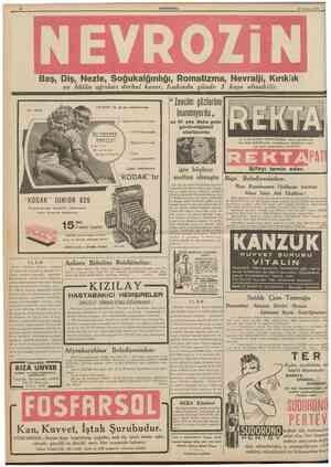 12 CUMHURÎYlPt 15 A&ustos 1939 Baş, Dîş, Nezle, Soğukalğınlığı, Romatizma, Nevralji, Kırıklık ve bütün ağrıları derhal keser.