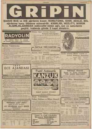 CUMHURfYET 31 Birincitesrin 1939 Şiddetli BAŞ ve DiŞ ağrılarını keser, ROMATiZMA, SİNİR, ADALE, BEL ağrılarına karşı bilhassa