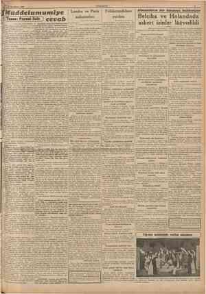 15 Ikîncikânun 1940 CUMHURÎYET Müddeiumumiye Yazan; Peyami ~ ^ Londra ve Paris anlasmaları (Baş tarafı 1 inci sahifede)...