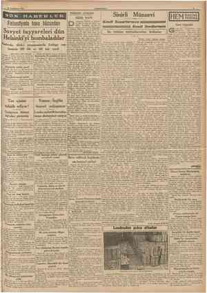 30 îkindkânun 1940 CUMHURİYET i Sinirli Münzevi Kâdiseler arasında Finlandiyada hava hücumları Sovyet tayyareleri dün...