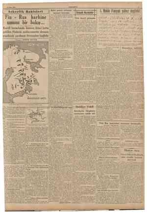 23 Şubat 1940 CUMHURİYET S [ Askerlik Bahisleri j Fin Rus harbine umumî bir bakış... Kareli berzahmda kısmen ikinci hatta...