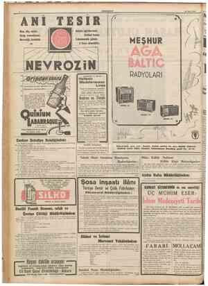 CUMHURİYET 26 Mart 1940 I Baş, diş, nezle, Grip, romatizma; Nevralji, kırıklık ve TESIR bütün ağrılarımzı derhal keser....