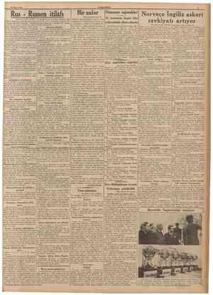 19 Nisan 1940 CUMHURİYET Rus Rumen itilâfı [Baş tarafı birinci sahifede] vaziyetin yeniden kanşık bir şekil alması, Balkan