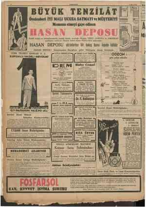 8 CUMHURtYET 4 Mayis 1940 Ötedenberi İYİ MAU UCUZA SATMAYI ?e MÜŞTERİYİ Nemnun etmeyi gaye edinen UYUK TENZILAT Kendi ıtriyat