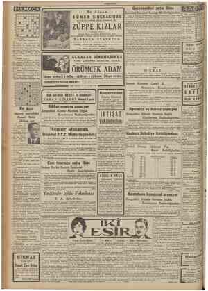 CUMHURtYET 15 Nisan 1941 BULMACA • • • • • • • • •l Gayrimenkul satış ilânı Bu Akşam SÜNER SİNEMASINDA 2 biiyük yüdız...