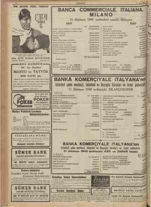 CUMHURİYET 15 Nisan 1941 TÜRK ÇOCUĞUNU BESLER, TOSUNLATIR BANCA COMMERCIALE ITALIANA, ILANO 31 ilkkânun 1940 tarihindeki...