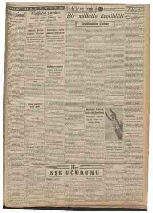 31 May» rUMHURIYFT O 1 S J A Muğlaya yardım İngiltere ve Arab memleketleri Zelzeîede açıkta kalanlar 200 çadır gönderildi...