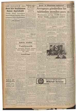 CUMHURİYET 2 Haziran 1941 HAVACILIK Son bir haftamn hava harehatı Giridde Alman havacılığmın muvaffakiyeti, harekâtı Alman